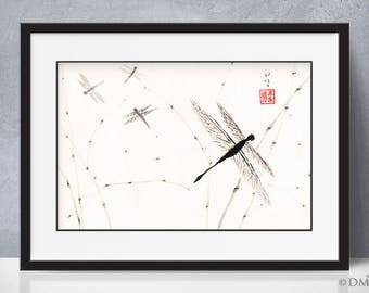 Dragonflies - sumi-e watercolor painting 12x18 (Print)