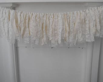 lace garland shabby decor cottage chic white and cream rag garland holiday decor nursery hanging wall decoration wedding decor 3ft
