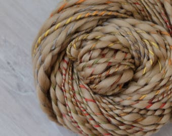 Art yarn merino wool hand spun effect yarn merino wool Slub thick and thin beige colored 130g