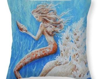 Mermaid throw pillow,  orange beach house decor, mermaid gift, original painting by Nancy Quiaoit