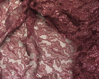 4 Way Stretch Burgundy Metallic Lace with Scalloped Edge on both sides / by the yard