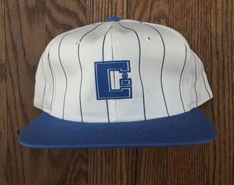 "Vintage 80s 90s Minimal ""C"" Pinstripe Snapback Hat Baseball Cap"