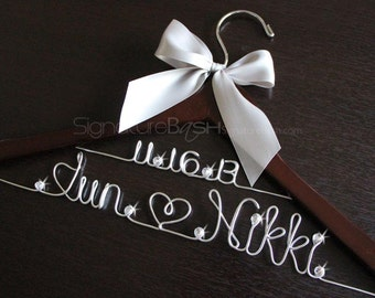 Custom Hangers With Rhinestones / Bridal Hangers / Wedding Hangers / Custom Bridal Hangers / Personalized Wedding Hangers
