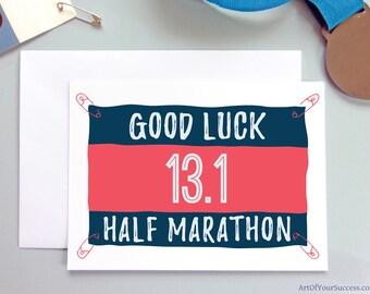 Good Luck Half Marathon card, 13.1 card, 13.1, good luck 13.1 card, running card, card for runner