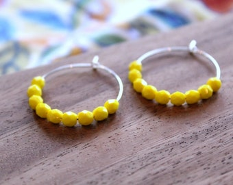 sterling silver bright lemon czech glass hoop earrings