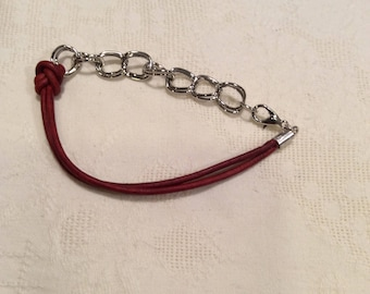 crimson red cord and silver chain bracelet