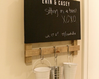 Chalkboard Command Center - Entryway Message Organizer. Custom Name. Buckets on Hooks - Buy A Craft, Feed A Baby.