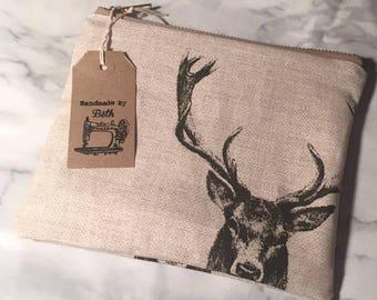 Stag Cosmetic Bag / wash bag / waterproof lining