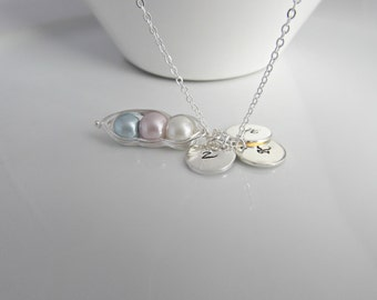Pea Pod Necklace, Initial Pea Pod Necklace, Girl Gifts, UK Seller, Bridesmaid Gifts, Pea Pod Jewellery, Triplet Necklace, Sister Gifts