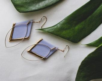 Ceramic Earrings | Diamond Earrings | Periwinkle Earrings