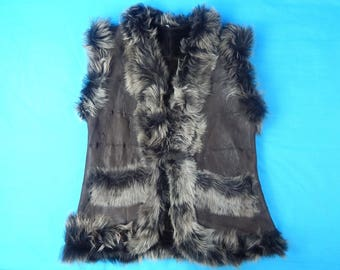 Warm Winter Natural Leather Sheepskin Shearling Toscana Fur Handmade Women's Lady's Vest Coat Outerware Gift for Her