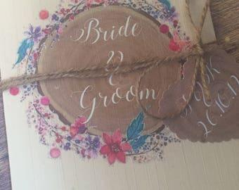 Rustic wedding invitation, country wedding, natural twine invitation, floral wedding invite