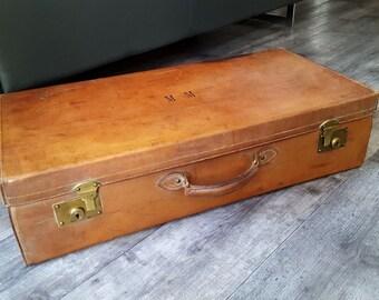 Beautiful large suitcase and servant, English leather encrypted Sunrise - 20718