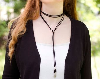 Leather Choker Necklace Thin Long Necklace Wrap Necklace Boho Necklace Long Tie Necklace Faux Suede Necklace Thin Choker Boho Fashion Gift