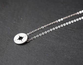Silver Compass Necklace, Dainty Jewellery, Delicate Fine Chain, Simple Modern Necklace