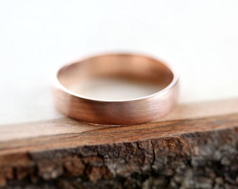 Rose Gold Men's Wedding Band, Brushed 4.5mm Low Dome 14k Recycled Hand Carved Rose Gold Wedding Ring  - Made in Your Size