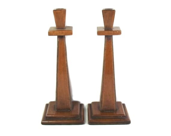 1920's Pair of Arts and Crafts Style Wooden Candlesticks