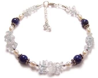 Lapis Lazuli, Topaz and Pearls Sterling silver bracelet - sapphire blue Topaz Bali silver