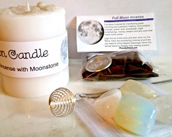 Full Moon Ritual Kit, Full Moon Kit, Full Moon Crystals, Full Moon Candle, Moon Necklace, Moon Incense, Full Moon Ritual Spell Kit Full Moon