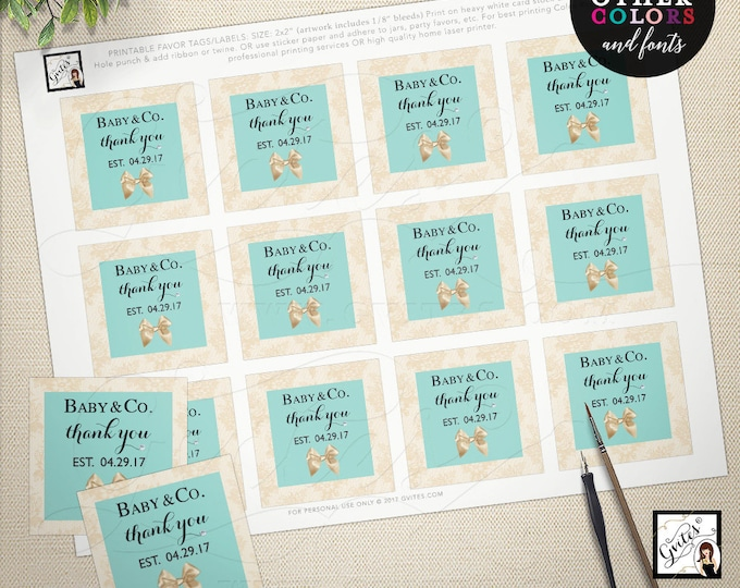 Baby and co printable tag, favor labels, party turquoise blue, baby and company breakfast baby tags. 2x2 Use as tags or stickers {You Print}