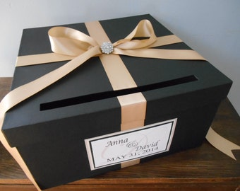 Black Wedding Card Box with Champagne Ribbon You Customize Colors Large 14 inch Box with ribbon, rhinestone and tag