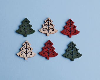 6 Wooden Xmas Trees - 1:12 or 1/12 Scale Dollhouse Miniature, Natural, Red, Green, Xmas Market Stall, Traditional, German Xmas Market