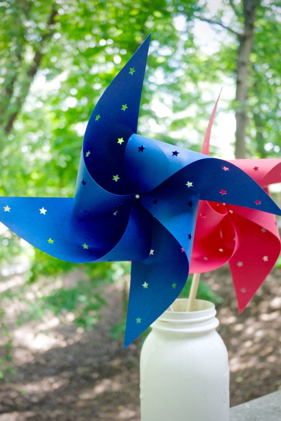 6 Custom Star Cut Out Pinwheels for Sabine