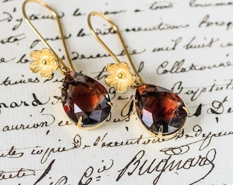 Graphite and Ruby Vintage Givre Rhinestone Floral Earrings - Gold Vermeil
