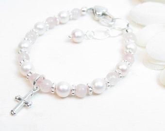 Baptism Bracelet - Christening Bracelet - Baby Bracelet - Baby Girl Bracelet - Pink Baby Bracelet - Child Cross Bracelet - Rose Quartz