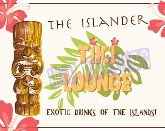 Tiki Party - Printable Tiki Bar Sign, Vintage Style. Perfect For Luau or Tiki Party!