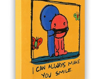 """I Can Always Make You Smile - On a Stretched Wooden Canvas Frame - 8"""" x 7"""" x 05"""" (Orange)"""
