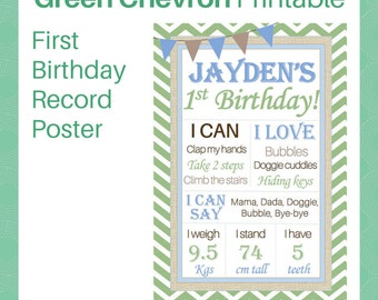 Green Chevron Printable Birthday Record Poster - Perfect for baby boy's first birthday - Instant Digital Download