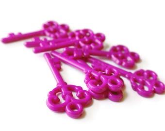 8 Bright Pink Key Skeleton Key Charm Plastic Key Pink Keys Acrylic Key Pendant Beads Jewelry Making Beading Supplies