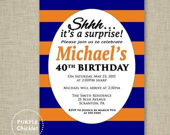 Surprise Party 30th 40th 50th Birthday Invitation Mens Masculine Invite Orange Navy Blue Invite Stripes Adult Party Invite 5x7 Printable 311