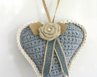 Blue Crochet Heart Decoration –Stuffed  Rustic Heart Door Hanger - Doorknob Heart - Large Crochet Ornament - Friend Gift