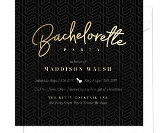 Bachelorette Party Invitation, Hens Night Invitation, Hens Party, Girls Night Out Invitation, Elegant Invitation, Geometric Pattern