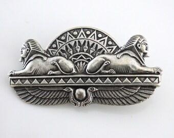 Vintage Brooch - Art Deco Brooch - Egyptian Jewelry - Silver Brooch - handmade jewelry