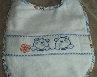 towel embroidered cross stitch blue bib for new baby boy
