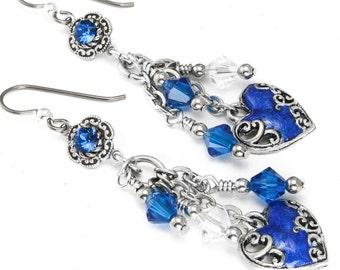 Sapphire Heart Earrings - Blue Valentine Earrings - Silver Love Earrings - Sapphire Crystal Earrings - Birthstone Earrings - Dangle Earrings