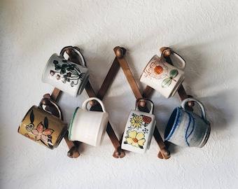 Funky ceramic mug set, florals, ceramics, pottery, mid century modern, boho home, bohemian home, modern home decor, coffee mug set, coffee