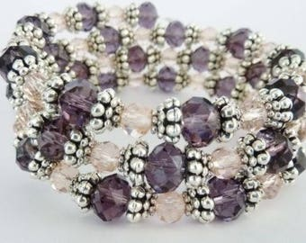 Lavender Twist Crystal Memory Wire Bracelet Handmade Costume Jewellery