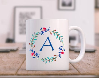 Monogram Mug | Custom Coffee Mug | Floral Wreath Mug | Floral Coffee Mug | Personalized Mug | Teachers Gift | Mother's Day Gift