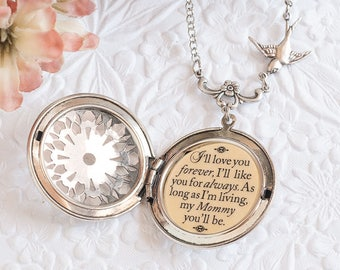 I'll love you forever I'll like you for always as long as I'm living my mommy you'll be Quote Necklace Mommy and Me Gift for Mom