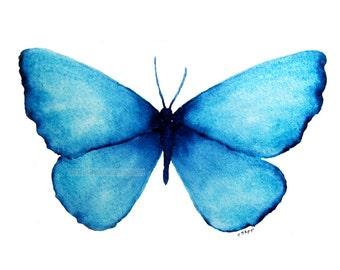 blue butterfly watercolor-butterfly painting-butterfly art-archival print-fine art print-blue decor-nature art-original butterfly art