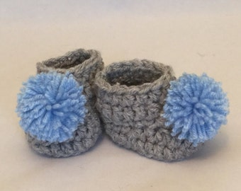 hand made crochet baby booties shoes baby gift baby shower photo prop grey blue