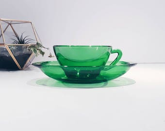 Cup + Saucer green glass - coffee - gift under 10 euro