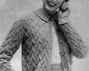 PATTERN 1950s Vintage Cable Knit Ladies Cardigan Sweater Button Down with Collar and long sleeves