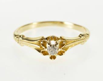 14K Ornate Scalloped Gypsy Set Diamond Engagement Ring Size 6 Yellow Gold