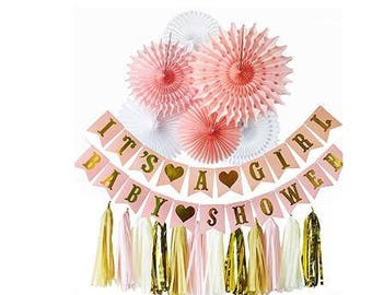 11pcs Pink Gold Birthday Party Decorations Tissue Paper Pom Pom Tissue Paper Fan It's A Gril Banner for Baby Shower Decorations
