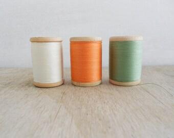 Vintage Wooden Thread Spools / Set of 3 / Off White - Orange - Green / Soviet Union Sewing Cotton Threads